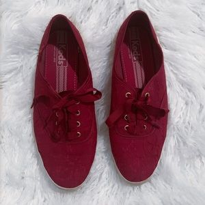 Keds burgundy maroon red gold lace sneakers